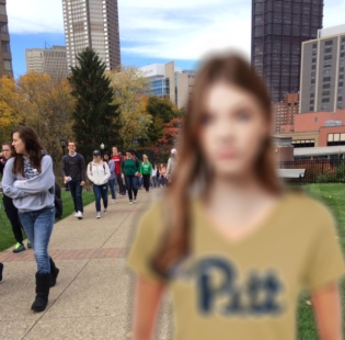 2 White girl on campus with pitt shirt